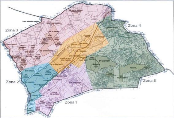 Zonificació dels Serveis Socials de Marratxí. Font: Coordinació Serveis Socials Municipals (2019)